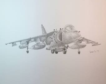 Original Stippled Military Jet Drawing // pen // ink // black and white // Jet // old // vintage // dots // pointillism // military
