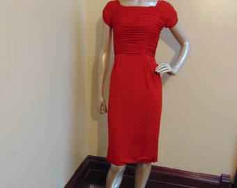 Vintage Red Ruched Dress