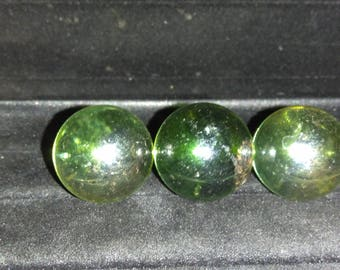 """3- 1"""" Shiney transparent green Marbles"""