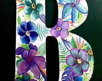 Hibiscus - Letter wall hanging - tropical - monogram - Customized - personalized - floral painting - hibiscus decor - door hanger - flowers