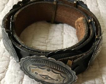Vintage Sterling Silver Concho Belt SIGNED