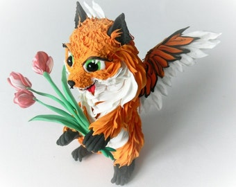 Figurine winged chanterelles with flowers,fox figurine,fox sculpture,fox statuette