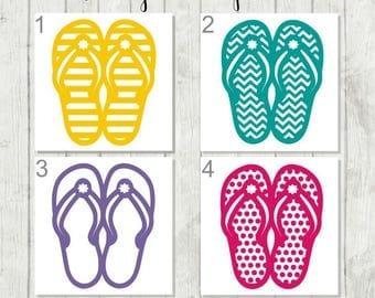 Flip Flops Decal - Summer Fun Decal - Flip Flop Tumbler Decal - Flip Flop Window Decal - Decal for Beach Lover - Surfer Decal - Flip Flops