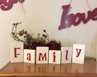 family block letters distressed wood blocked letters in red farmhouse decor shelf sitter painted wood blocks mantel decor shabby chic decor