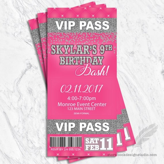 VIP Birthday Bash Invitations, pink, glitter, sparkles, customizable ...