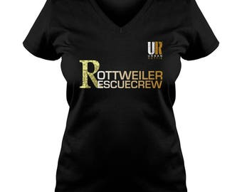 URBAN ROTTIE© Ladies Rottweiler Rescue Crew V-Neck T-shirt,rottweiler t-shirt,rottweiler tees,rottie tees,rottweiler shirts,rottweiler fans.