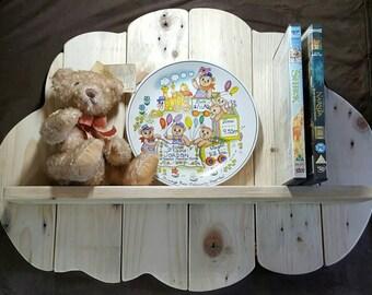 Unique handmade reclaimed wood cloud shelf. Nursery decor. Child's bedroom decor.