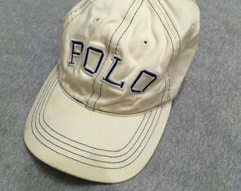 Vintage 90s Polo by Ralph Lauren hat cap spell out big logo free adult size cream colour