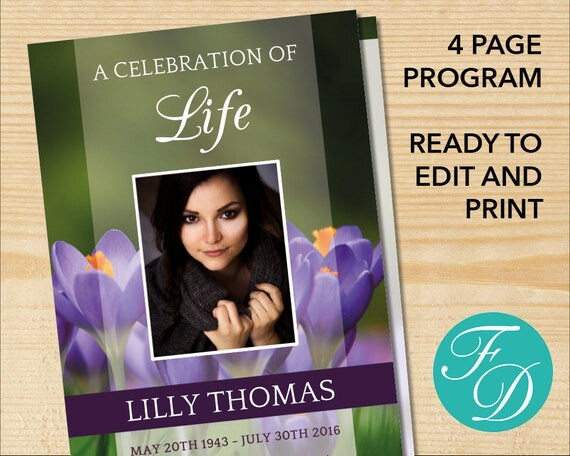 Celebration of life printable funeral program template for Free celebration of life program template