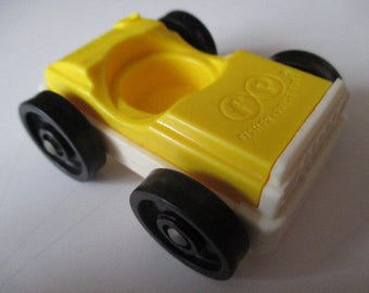 Vintage 1970's Fisher Price Little People Car - Yellow and White with 1 Seat