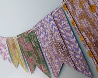 Barnwood print Paper Bunting, Wall Decor, Party Decor, Party bunting