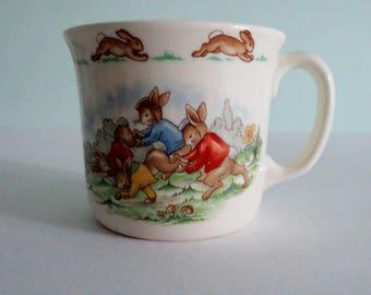 "Vintage Royal Doulton 1936 ""Bunnykins"" English Fine Bone China Child's Mug Wheelbarrow Race"