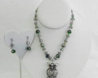 Owl necklace with matching earrings