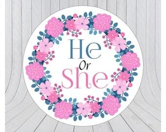 24 x Gender reveal invitation stickers, gender reveal party, baby shower party, envelope seal, gender reveal envelope sticker, 042