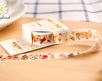 FOLK FOREST Japanese Washi Tape, Masking Tape, Planner Stickers,Crafting Supplies,Scraping Booking,Adhesive Tape,Floral Washi Tape