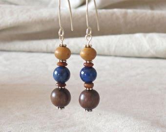 Wooden earrings, long dangle earrings, stacked bead earrings, blue brown earrings, beaded dangle earrings, lapis blue stone earrings