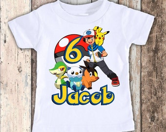 Pokemon custom designed birthday t shirt tshirt personalized