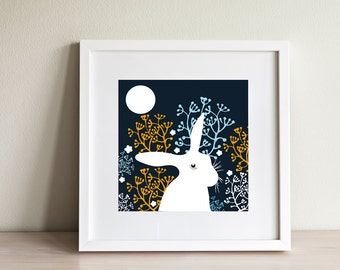 Hare Print - contemporary design, modern prints from Scotland