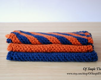 100% Cotton Hand Knit Kitchen Dishcloths/Washcloths - Set of 3 (approx. 17x17cm) cloths - Various Colours Available