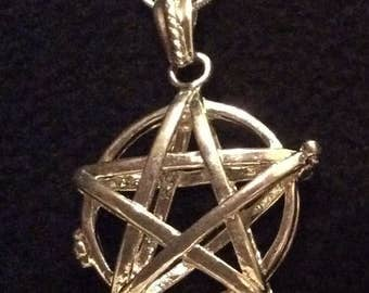 Silver Pentacle Crystal Cage Necklace