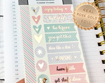 Planner Stickers, Inspirational, Rose Gold Foil, Peach, Grey, Mint, Patterned, Sticker Flags, Motivational, 16 Stickers
