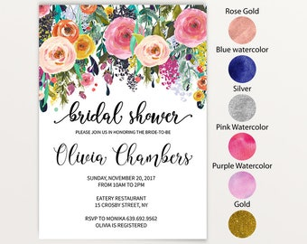Floral Bridal Shower Invitation Instant Download JPEG Template, Watercolor Flower Bridal Invite, text color change  1