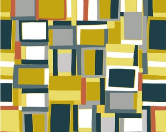 Geometric squares Quilting fabric by inprint Jane Makower - crazy squares , 100% cotton 44 inch wide