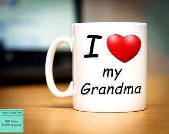 I Love My Grandma | Heart Mug | Grandma Mug