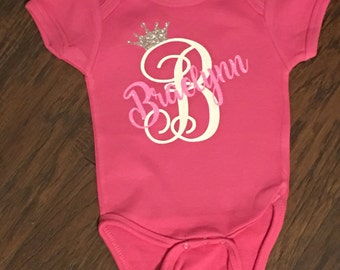 Monogrammed Vinyl Princess Onesie with Initial and Name.