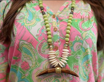 Bone Tusk Pendant Necklace