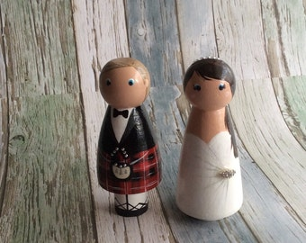 Peg Dolls Cake Toppers Wooden Bride & Groom in Kilt, personalised handmade gifts