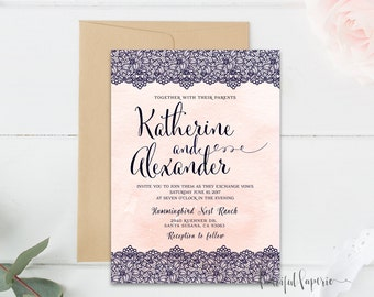 Navy Blue Lace Invitation - Fancy Watercolor Invitation - Printable Wedding Invitation - Fancy Wedding - Elegant Wedding Invite