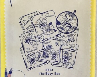 Aunt Martha's Hot Iron Transfers-3681-The Busy Bee-Vintage Embroidery Patterns