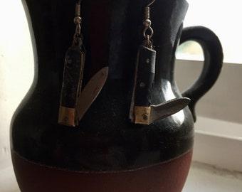 Weathered Western Knife Earing Set