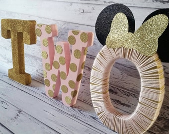 Minnie Mouse Inspired Birthday Free Standing Letters//Pink and Gold Birthday//2nd Birthday letters//1st Birthday letters//Photo Prop