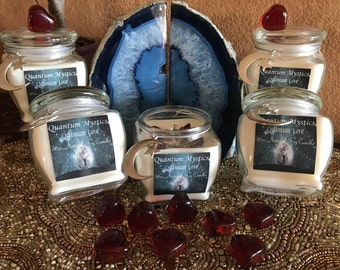 Quantum Love Candle~ 10oz. Natural Soy Candle~Essential Oil-Comes with Glass Heart Charm,Engraved Heart Charm~Energy Charged Candle,Scented
