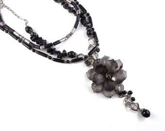 Elegant black flower necklace, black vintage necklace, repurposed necklace, recycled necklace, costume jewellery