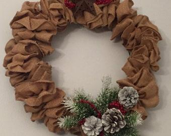 Country Pine, Burlap Wreath
