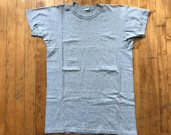 Vintage 70's Champion Blue Bar 88/12 Cotton Rayon Heather Grey Tshirt Tee Sz XXL Made in USA Blank Plain Deadstock condition