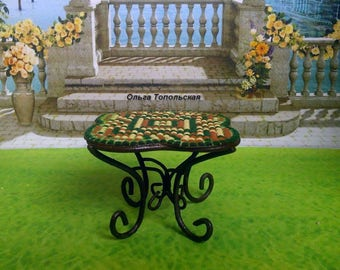 Dollhouse furniture. Little table. Miniature, Dollhouse. Scale 1:12