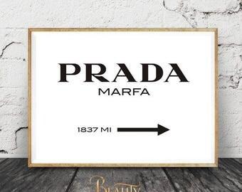 Prada Marfa Sign, High Fashion Brand, Poster Brand Distance Mark, Gossip Girl, Modern Fashion Print, Fashion Week Printable Wall Decor