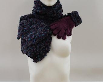 Scarf & Gloves Set (Purple/Blue/Grey)
