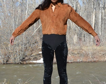 1980s Brown Suede Leather Snap Leotard Bodysuit