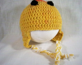 Little duck crochet earflap hat sz 12 months.