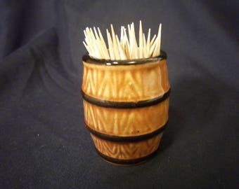 Ceramic Whisky Barrel Toothpick Holder Vintage