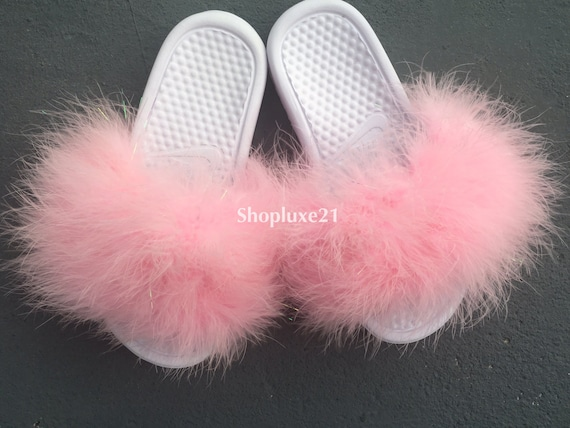 7deb3a0f7 chic Baby pink sparkle faux fur on white nike slides by Luxe21 on Etsy