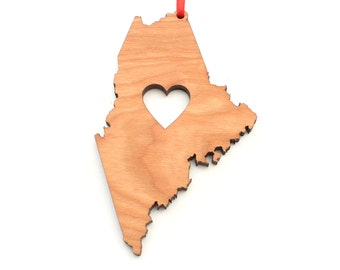 Heart Maine Christmas Ornament - ME State Shape Ornament with Christmas Heart Cutout - Maine Ornament Design by Heart State Shop