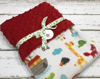 Noahs ark blanket Noahs Ark Baby blanket baby blanket Baby Boy Blanket Baby boy shower gift Minky Blanket Noah's ark baby shower noahs ark