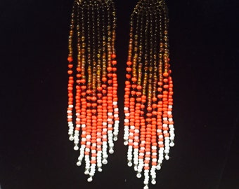 Ombre brown orange and white dangle earrings