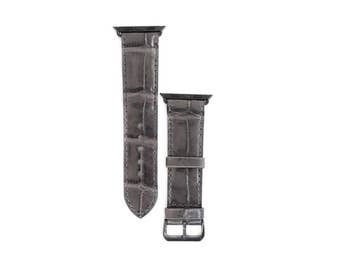 AppleWatch Band Gray Leather  Watchband iwatch mens Strap Hand Crafted Crocodile